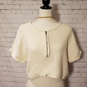 Anthropologie Tulle Cream Zip Up Sweater